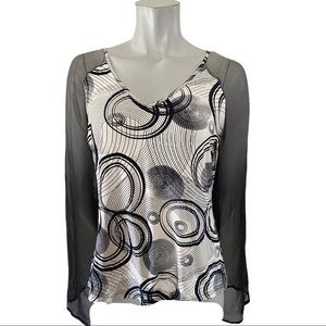 Fresh FX Navy/White top with Grey Sheer Sleeves M
